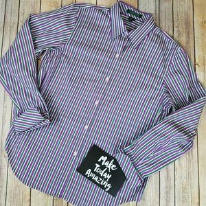 Ralph Lauren Purple Stripe Button Down Medium